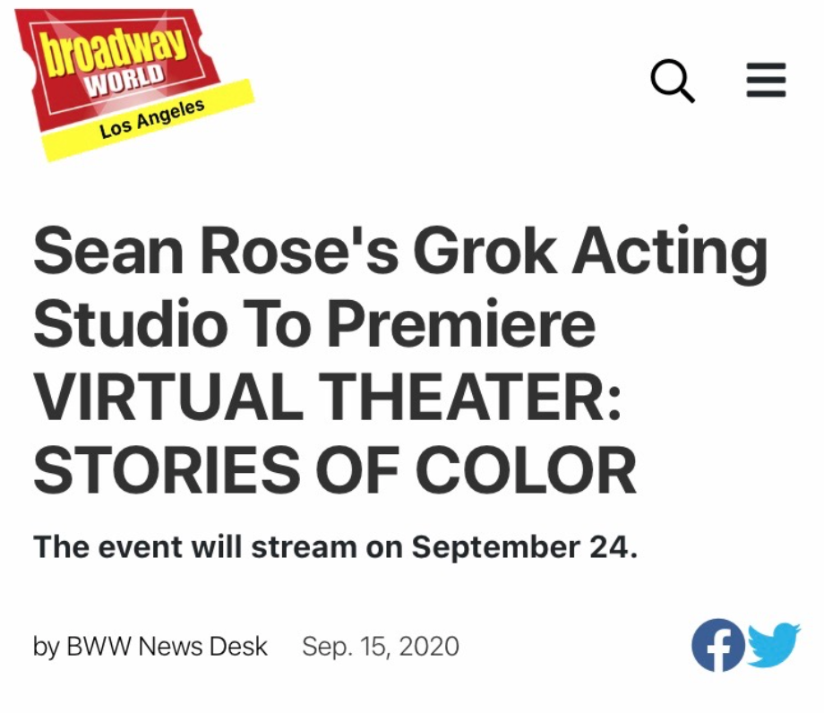 Broadway World: Grok Acting Studio To Premiere VIRTUAL THEATER